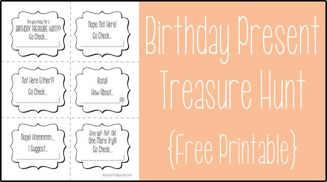 Birthday Present Treasure Hunt Free Printable