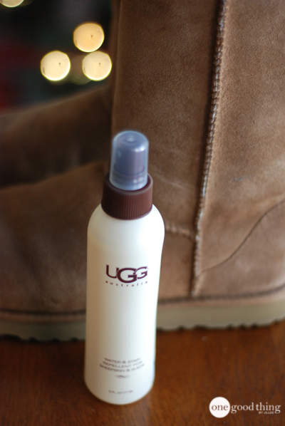 A small bottle of Ugg brand stain and water repellent