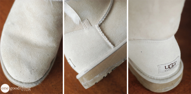 A collage showing the toe area, side, and heel of a white Ugg boot