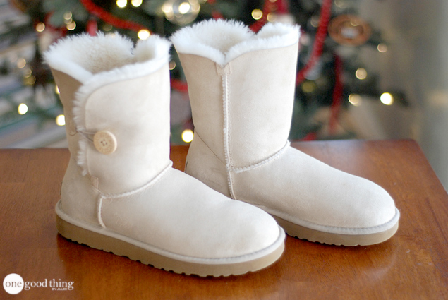 A pair of clean, white Ugg boots