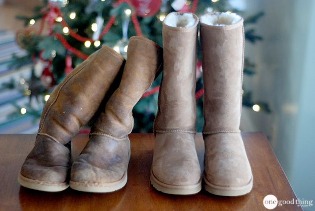 A pair of very dirty, worn, brown Ugg boots next to a pair of new-looking brown Ugg boots