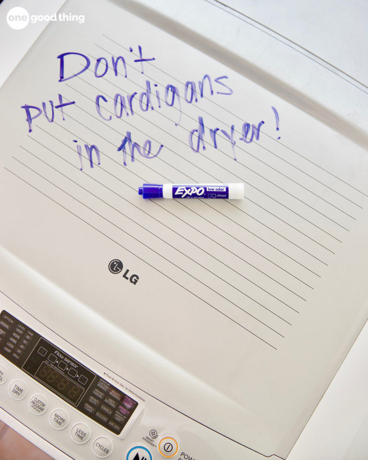 writing on washing machine with a dry erase marker