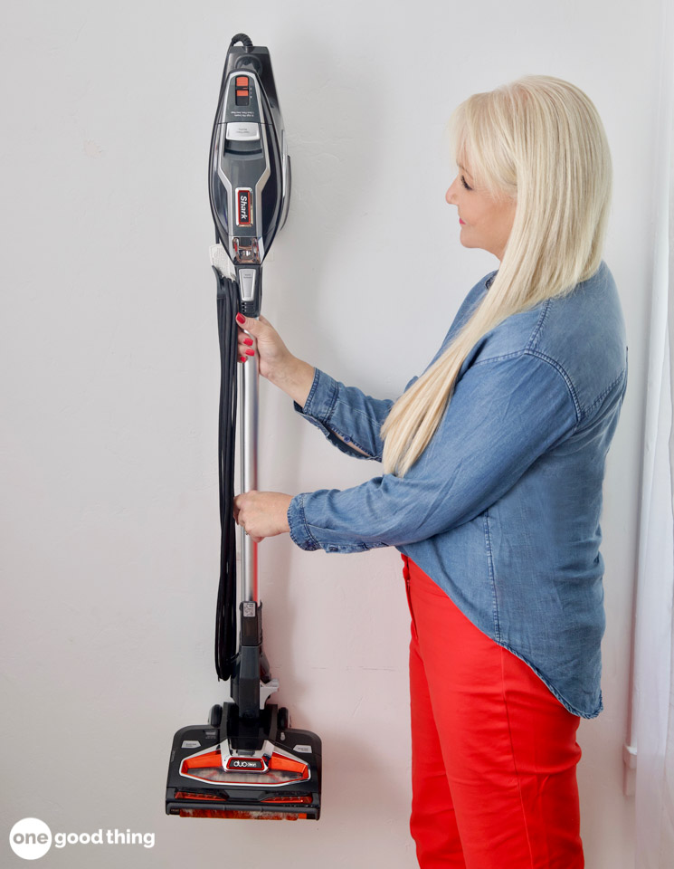 Storing a vacuum on a hook