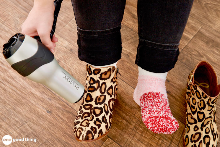 stretching shoes with a hair dryer