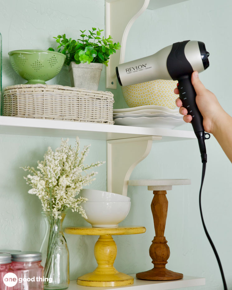 dusting with a hair dryer